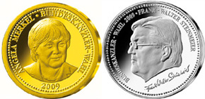 Münze Angela Merkel vs. Frank Walther Steinmeier